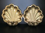 Vintage 2 Scalloped Shell Wall Candle Sconces Solid Brass 9 X 10 Pair