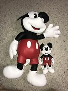 """Mickey Mouse The True Original Large Leather Plush 26"""" And 10"""" Limited Edition"""