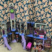 Lot Of Monster High Castle Haunted Mansion Doll House Furniture Dolls And More