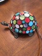 Vintage Stained Glass Turtle Nightstand Lamp
