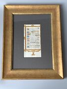 Medieval Framed Illuminated Vellum Manuscript Leaf Of A Book Of Hours C15th Cent
