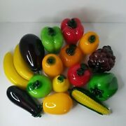 Vtg 16-piece Murano-style Glass Fruits And Vegetables Harvest Decorations Lifesize