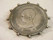 Rare Antique Alfonso Xiii Coin Brooch