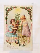 Antique A Merry Christmas Girl Angel Teddy Bear Rooster Baby Doll Toys Postcard