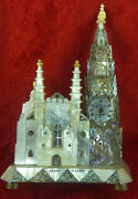 Rare Le Roi Mother Of Pearl Shell Cathederal Clock From France