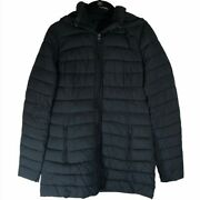 Abercrombie And Fitch Womens Small Puffer Jacket Black Hooded Warm Mid Length