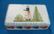 Quimper Mistral Blue Peasant Woman Butter Dish Cover Only