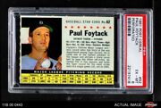 1961 Post Cereal 62 Paul Foytack Perforated Indians Psa 6 - Ex/mt