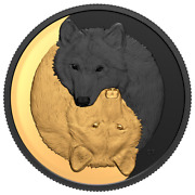 2021 Canada 20 Black And Gold The Grey Wolf 1oz .9999 Silver Mintage 4500