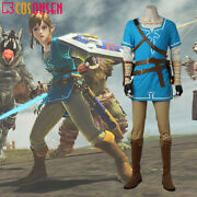 The Legend Of Zelda Breath Of The Wild Link Costume Cosplay Halloween Outfit New