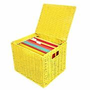 Collapsible File Storage Organizer Letter Size Hanging File Box Organizers Wi...