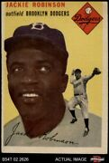 1954 Topps 10 Jackie Robinson White Back Dodgers 4 - Vg/ex