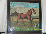 Rare Old Large Micro-mosaic Of Tile-horse- Hand Done-signed Monogram Framed
