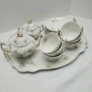 Vintage Limoges Chocolate Or Tea Service Set With Tray Blue Floral