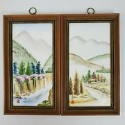 20th Century 2 Chinese Porcelain Plaques Framed Tiles With Hut Mountains 10x5.5