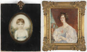 Portraits Of Mrs. Benson As A Child And As A Wife Two Miniatures 1810/30