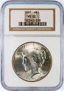 1927-p Peace Liberty Head Silver Dollar - Ngc Ms-62. Strong Strike. Eye Appeal