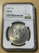 1927 Ngc Ms62 Peace Silver Dollar