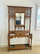 Antique Large Oak Hall Tree Beveled Mirror Beautiful Carvings 48x79 Tall