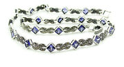 Princess Cut Purple Stones With Marcasite Sterling 925 Silver Necklace Choker 17