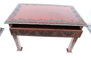 Antique American Victorian Heavily Carved Mahogany Center Table, 19th