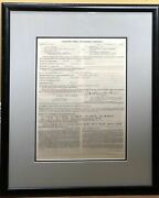 Orson Welles / Document Signed 1976 Aftra Engagement Contact With Cbs