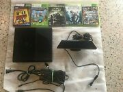 Xbox 360 E Slim 500gb Console W/one Controller And Cords + 5 Games And Kinect Sensor
