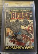 Amazing Adventures 11 Cgc 7.5 Ss Stan Lee 1st Appearance Of Beast W Fur Signed
