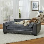 Pet Plush Wood Sofa Bed Dog Luxury Seat Chair Cat Gray Removable Cover Washable