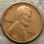 1911 S Lincoln Wheat Cent Penny - Better Grade Free Ship. J197