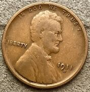 1911 S Lincoln Wheat Cent Penny - Better Grade Free Ship. J196