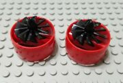Lego Lot Of 2 Red 4x4 Exhaust Fan Cylinder Space Pieces