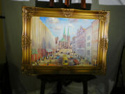 Art Deco C1920-1930and039s Era Original Oil On Canvas Main Street Painting Signed