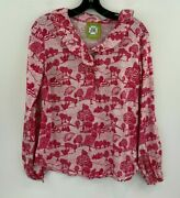 Elizabeth Mckay 2 Blouse Top Pink Cottage Core Ruffle Forest Print Peasan A45-12