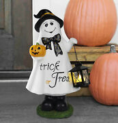 18 Trick Or Treat Halloween Ghost W/lantern Door Greeter Battery Operated New