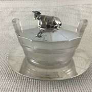 Victorian Sterling Silver Glass Butter Dish And Tray Recumbent Cow Finial