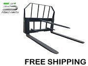 Es 48 Pallet Fork/bale Spear Combo Quick Attach Skid Steer Loader Free Shipping