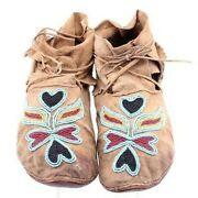 1890s Antique Men's Native American Crow Indian Beaded Decorated Hide Moccasins