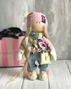 Hand Made Interior Doll In A Vest Pumpkin Head Clothes Gift Girland039s And Design Home