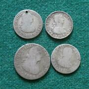 1804 1 Real 1805 09 And 10 1/2 Real Mexico Silver 4 Coins Bust Caps And Rays Mo