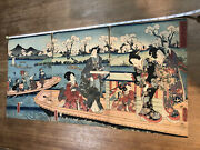 Japanese Woodblock Triptych Genji And His Companions Sharing A Boat Toyokuni Iii