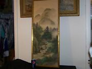 Old Chinese Original Mixed Media On Silk Painting Large Panel - Signed/stamped