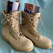 New Wellco Mens Military Boots Sz 10 R Flame Resistant Desert Tan Acb-hw 164806