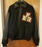 Men's Las Vegas 1998 National Finals Rodeo Jacket Coat Sz L Wool And Leather 40th