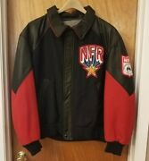 Men's Las Vegas 1996 National Finals Rodeo Jacket Coat Sz Xl Wool And Leather Red