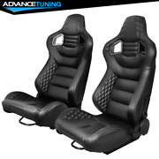 Reclinable Pair Racing Seat Dual Slider Pu Carbon Leather Grey Stitch