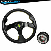 Fit 320mm Black Pvc Leather Yellow Stitch Racing Steering Wheel Horn Hub Adapter