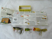 3 Lot Of Vintage Fred Arbogast Hula Popper Fishing Lure W/ 1 Box And Paperwork