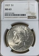1927 Ngc Ms63 Peace Silver Dollar