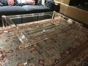 Charles Hollis Jones Lucite And Glass Coffee Table Vintage With Gold Accents